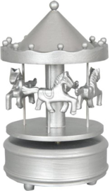 Clayre & Eef muziekdoos draaimolen zilver