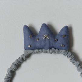 Diadeem linnen kroon grijsblauw
