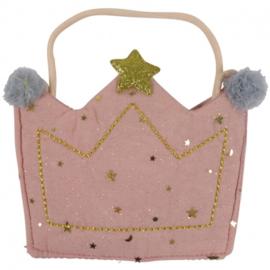 tasje glitter kroon, roze