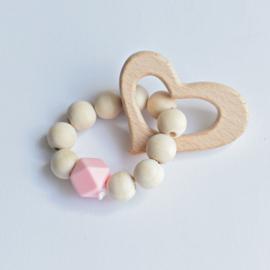 Rammelaar hout hart / roze