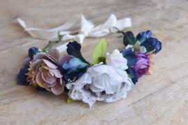 Bloemen haarband supersize blauw/pastel