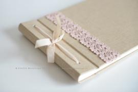 Fotoalbum linnen/ kant roze handgemaakt
