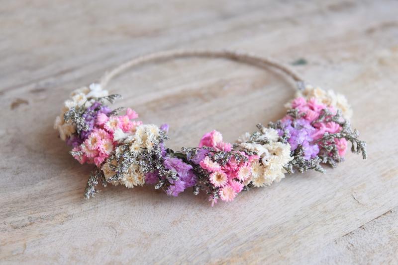 Droogbloemen haarband handmade nr.7
