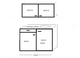 Spoelbak met werkblad onderkast en bovenkast 120x60 cm