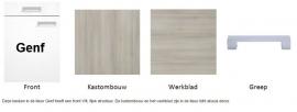 Bovenkast hoog Genf wit met akazia design 50x89,6