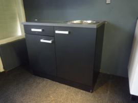 Spoelbak RVS 100x60 met onderkast en 1x lade zwart