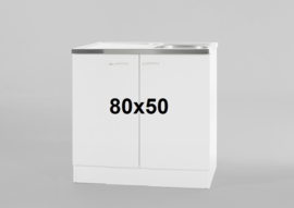 Spoelbak RVS met onderkast 80x50cm wit
