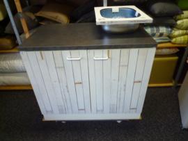 Onderkast met werkblad- spoelbak vierkant 100x60x85 steigerhout