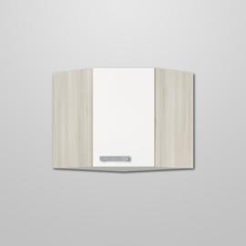 Hoekbovenkast Genf wit met akazia design 60x60x57,6cm