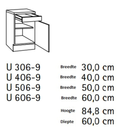 Onderkast één lade 30x60 cm