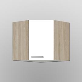 Hoek bovenkast Zamora wit met licht eiken design 60x60x57,6