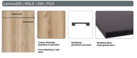 Spoelonderkast 128cm Lenox eiken/ zwart graniet