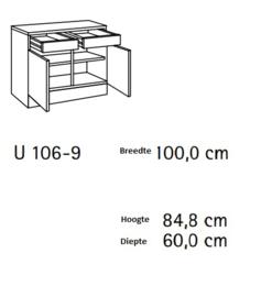 Onderkast twee lades mat zwart 100x50 cm