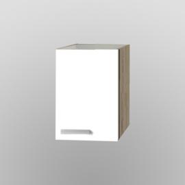 Bovenkast Zamora wit met licht eiken design 30x57,6