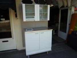 RVS bovenblad met onder en bovenkast wit 100x60 cm