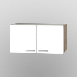 Bovenkast Zamora wit met licht eiken design 100x57,6