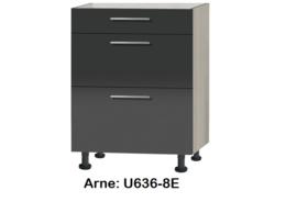 Onderkast 60cm met 3x uittreklade, zonder werkblad Arne