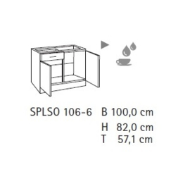 Onderkast 1x lade tbv spoelbak mat zwart