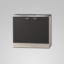 Spoelonderkast  met RVS spoelbak antraciet Faro