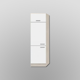 Hogekast Klep Genf wit met akazia design 60x206,8x60 cm