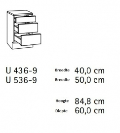 Onderkast Imola 50x60x85cm lades