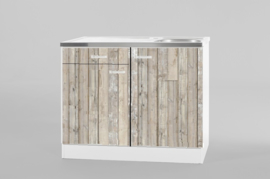 Spoelbak RVS 100x60 met steigerhout onderkast en 1x lade