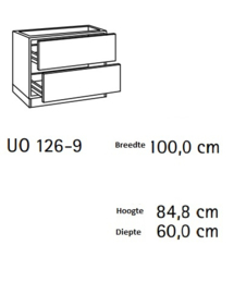 Onderkast 2x lades  100x60 cm