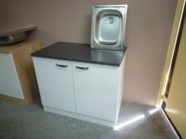 Onderkast met werkblad en inbouw spoelbak vierkant 100x60x85 Lagos
