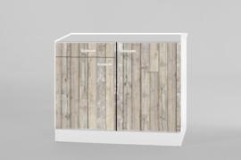 Onderkast 1x lade tbv spoelbak steigerhout zonder werkblad