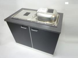 Onderkast met werkblad en inbouw spoelbak 100x60x85 Mat zwart