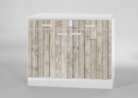 Onderkast twee lades 100x50 cm steigerhout