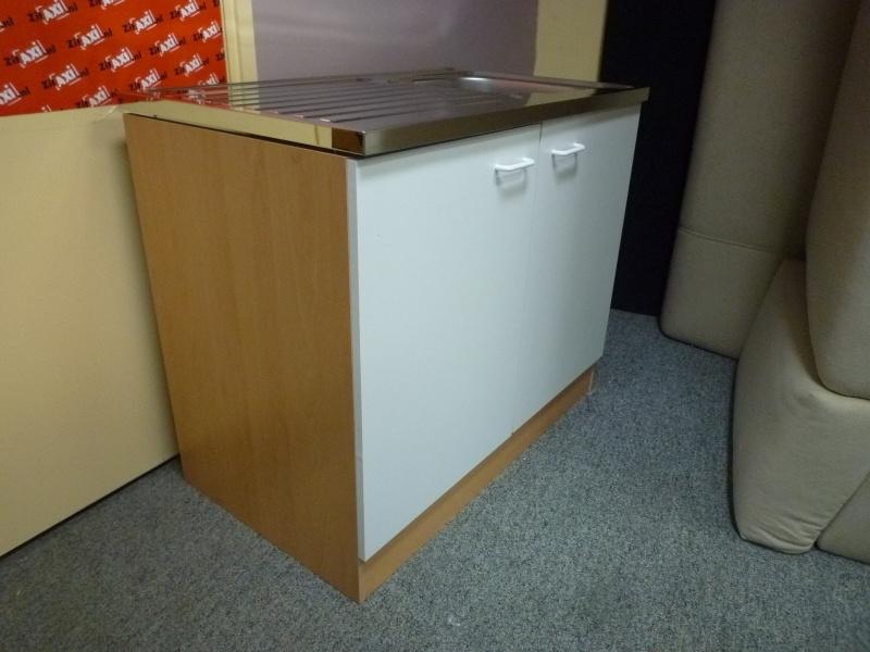 RVS Spoelbak 60x100 beuken ombouw deur wit