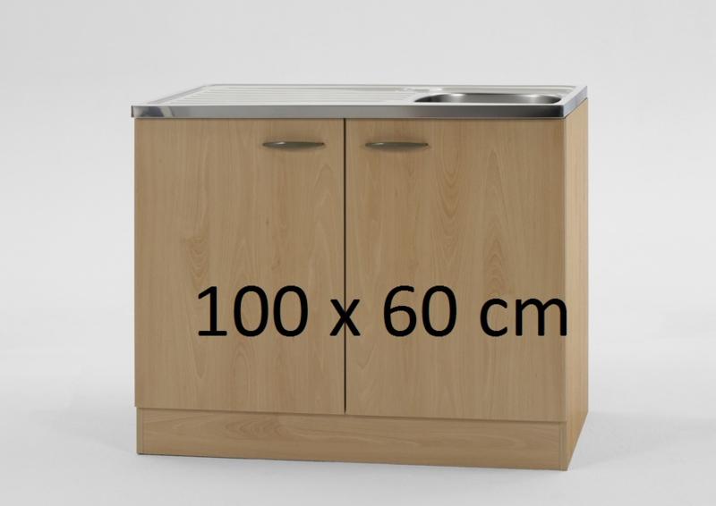 Spoelbak RVS met onderkast 100x60 beuken