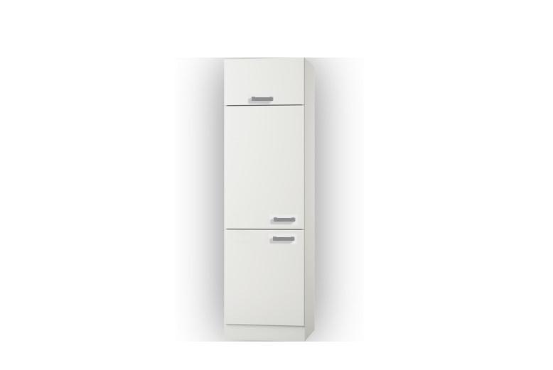 Hogekast met klep Oslo wit/wit design 60x206,8x60 cm