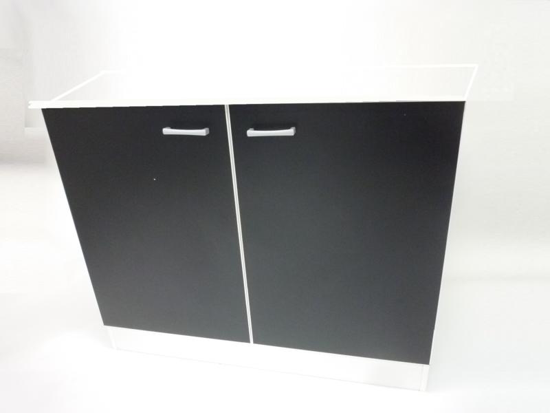 Spoel onderkast Mat zwart 100x60x82 cm