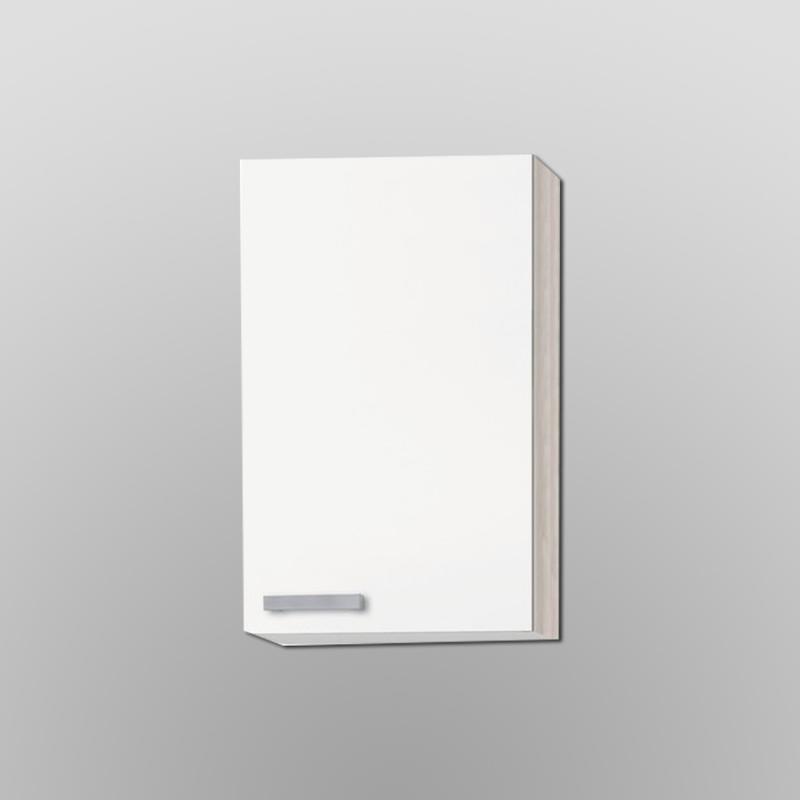 Bovenkast hoog Genf wit met akazia design 40x89,6