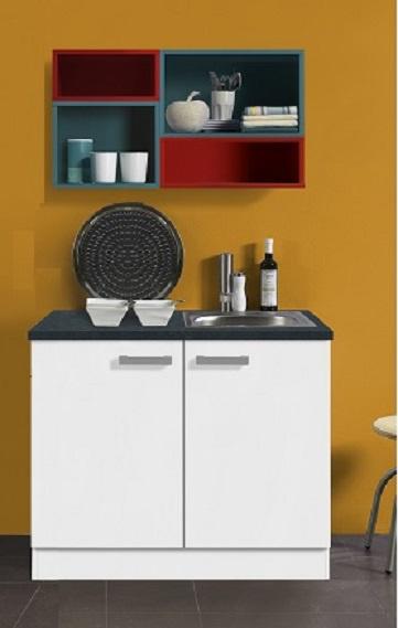 Onderkast met werkblad en spoelbak gekleurde bovenkast