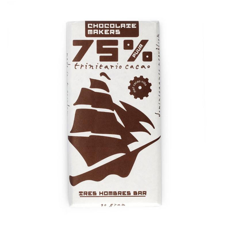 Chocolate Makers - Tres Hombres met Gebrande Cacao Nibs 75%
