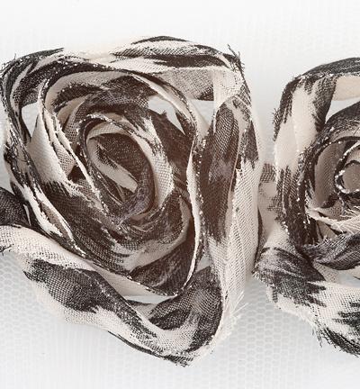 Bloemen lint: zwart/grijs