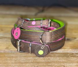 Bruin met roze, bruin met groen halsband