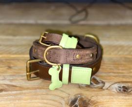 Halsband bruin met groen