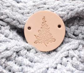 Ronde leren label 3,5 cm Christmas