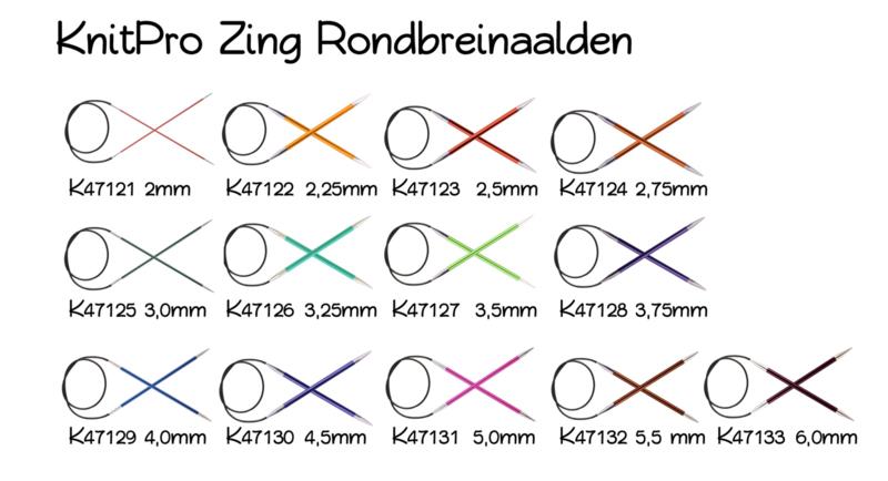 KnitPro Zing Rondbreinaalden 80cm