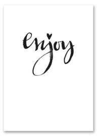 Kaart zwart wit Enjoy met glans  | Jots