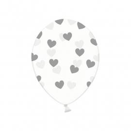Ballon transparant met grijze hartjes  | 5 stuks