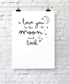 Poster I Love You to the moon and back A3 formaat | Jots