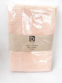 Theedoeken, set van 2 stuks zalm roze  |  Broste Copenhagen