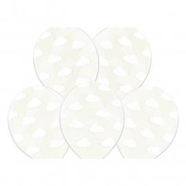 Ballon transparant met witte wolkjes  | 5 stuks