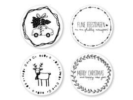 Ronde etiket Kerststickers 15 stuks  |  Jots
