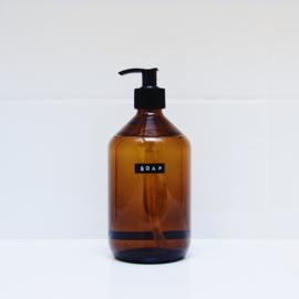 zeeppomp van glas met label: Soap